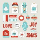 Etiketter för fastställd urklippsbok för glad jul diy tryckbara stock illustrationer