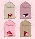 etiketter för gullig design för cake set stock illustrationer