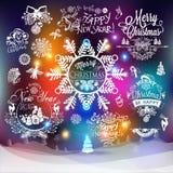 Etiketter för jul och för nytt år stock illustrationer