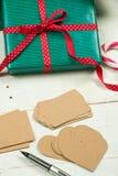 Etiketter för julpackar Royaltyfri Fotografi