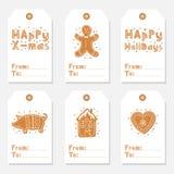 Etiketter för jultappninggåva ställde in med pepparkakakakor royaltyfri illustrationer