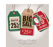 Etiketter för jultemaförsäljning Arkivbild