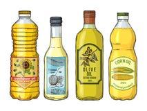 Etiketter för olika oljor Solros, oliv, havre och kokosnöt Vektorbilduppsättning royaltyfri illustrationer