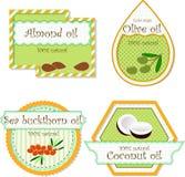 Etiketter för olja Arkivbilder