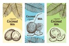 Etiketter för packedesign med hand drog illustrationer av kokosnöten Vektormall med stället för din text royaltyfri illustrationer