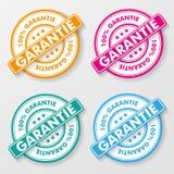 Etiketter för 100 procent garantipapper stock illustrationer