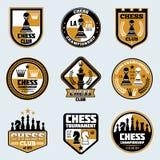 Etiketter för schackklubba Logoer och emblem för vektor för affärsstrategi stock illustrationer