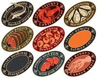 Etiketter för skaldjur stock illustrationer