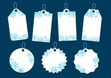 Etiketter för snöflingajulgåva vektor illustrationer