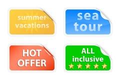Etiketter för sommarsemestrar vektor illustrationer
