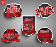 Etiketter för svarta fredag Royaltyfri Foto