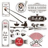 Etiketter för tappning för sushiRolls Sashimi Retro Stock Illustrationer