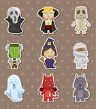 Etiketter för tecknad filmHalloween monster royaltyfri illustrationer
