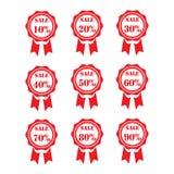 etiketter för tillbehörmodeförsäljning Sale baner shopping band 10% - 90% försäljningstecken Rött arkivbilder