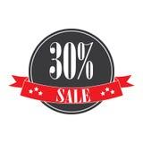 etiketter för tillbehörmodeförsäljning Sale baner shopping band 30% försäljningstecken Rött royaltyfria bilder