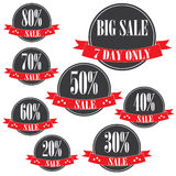 etiketter för tillbehörmodeförsäljning Sale baner shopping band 20%-80% försäljningstecken Rött arkivfoton