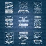 Etiketter för typografi för grov bomullstvilljeans vita Fotografering för Bildbyråer