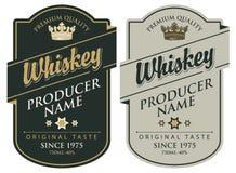 Etiketter för whisky med inskriften och kronan vektor illustrationer