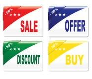 Etiketter - försäljning, erbjudande, rabatt, köp Fotografering för Bildbyråer