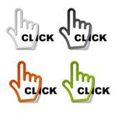 etiketter för klickmarkörhand vektor illustrationer