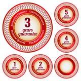 Etiketter från 1 till 5 år garanti Royaltyfria Foton