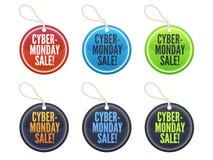 etiketter för cybermåndag försäljning Arkivfoto