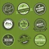 Etiketter för organisk mat Arkivbild