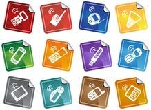 etiketter för symbolstelefonset Arkivbilder