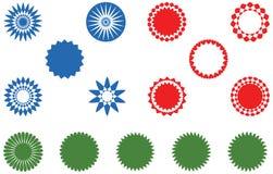 Etiketter, knappar och dekorativa designer stock illustrationer