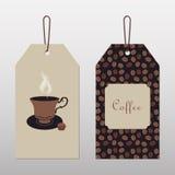 Etiketter med kaffe och koppen Arkivfoto