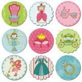 Etiketter med prinsessan Elements Royaltyfria Bilder