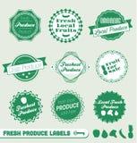 Etiketter och etiketter för ny Produce vektor illustrationer