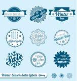 Etiketter och etiketter för vintersäsongförsäljning Fotografering för Bildbyråer