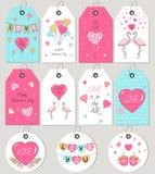 Etiketter och kort för gåva för dag för valentin` s design tecknad elementhand stock illustrationer