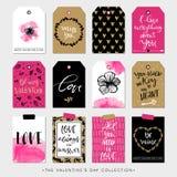 Etiketter och kort för valentindaggåva Kalligrafidesignbeståndsdelar Fotografering för Bildbyråer