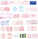 etiketter postmarks stämplar Arkivbilder