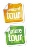 etiketter turnerar helg vektor illustrationer