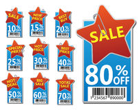 etikettförsäljningsset Arkivfoto