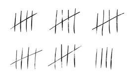 Etikettfläckar räknar eller fängslar väggpinnelinjer räknare Vektorhashmarkssymboler av för dagetikett för arrest eller för öde ö stock illustrationer