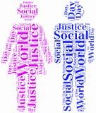 Etikettieren Sie oder fassen Sie den Wolke Welttag der sozialer Gerechtigkeit bezogen ab Lizenzfreies Stockbild