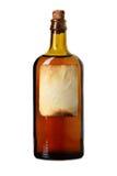 Etikettierte Flasche mit transparenter Flüssigkeit Stockbilder