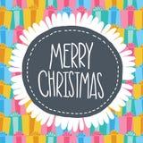 Etikettkort för glad jul. Xmas-bakgrund Arkivbilder