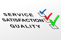 Etikettkvalitet, tillfredsställelse, service Arkivfoton