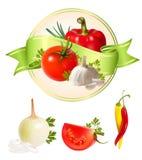 etikettproduktgrönsaker Arkivfoton