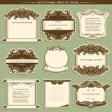 Etikettramar med dekorkaraktärsteckningar också vektor för coreldrawillustration Royaltyfria Bilder