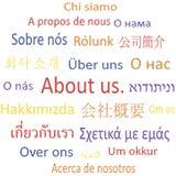 Etikettsmoln om oss i olika språk. Arkivfoton