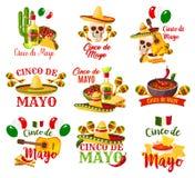 Etikettuppsättning för Cinco de Mayo stock illustrationer