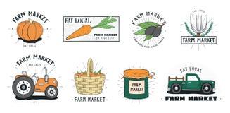 Etikettuppsättning för ny mat Samling för logo för lantgårdmarknad olik Räcka den utdragna färgrika vektorillustrationen på vit b vektor illustrationer