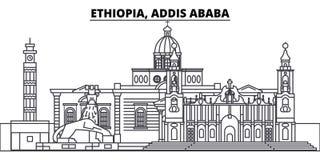 Etiopía, línea ejemplo de Addis Ababa del vector del horizonte Etiopía, paisaje urbano linear de Addis Ababa con las señales famo Imágenes de archivo libres de regalías