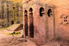 Etiopía, Lalibela. Iglesia del corte de la roca de Moniolitic imagen de archivo libre de regalías